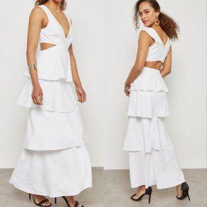 Bardot Tiered Cutout White Dress Size 4